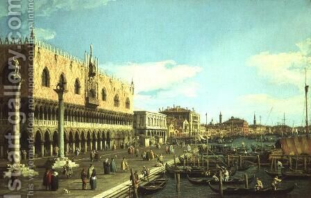 View along the Riva degli Schiavoni, c.1740-5 by (Giovanni Antonio Canal) Canaletto - Reproduction Oil Painting