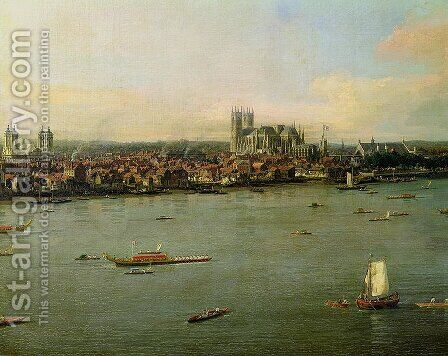 View of the Thames and Westminster Bridge, detail of Westminster Abbey, 1746-47 (detail) by (Giovanni Antonio Canal) Canaletto - Reproduction Oil Painting