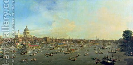 The River Thames with St. Paul's Cathedral on Lord Mayor's Day, c.1747-48 by (Giovanni Antonio Canal) Canaletto - Reproduction Oil Painting