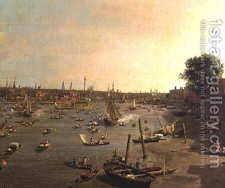 The River Thames with St. Paul's Cathedral on Lord Mayor's Day, detail of boats on the shore, c.1747-48 by (Giovanni Antonio Canal) Canaletto - Reproduction Oil Painting