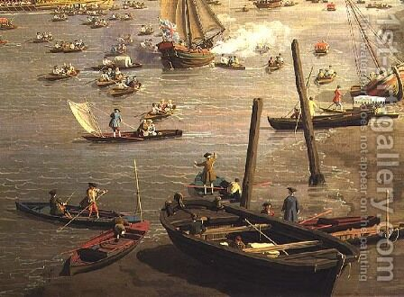 The River Thames with St. Paul's Cathedral on Lord Mayor's Day, detail of boats by the shore, c.1747-48 by (Giovanni Antonio Canal) Canaletto - Reproduction Oil Painting