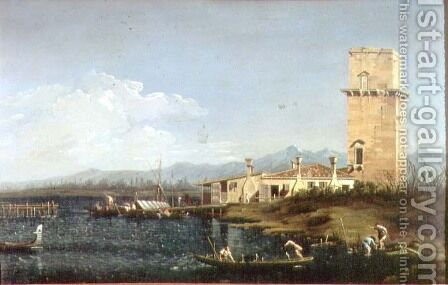 The Tower at Marghera by (Giovanni Antonio Canal) Canaletto - Reproduction Oil Painting