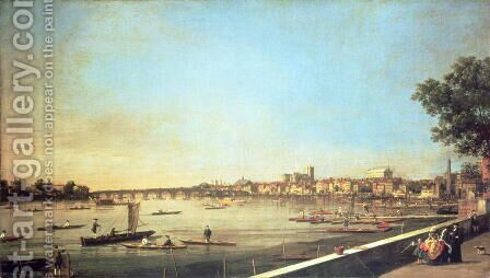 London, the Thames at Westminster and Whitehall from the Terrace of Somerset House, c.1750-51 by (Giovanni Antonio Canal) Canaletto - Reproduction Oil Painting