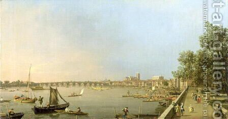 The Thames from the Terrace of Somerset House, looking upstream Towards Westminster and Whitehall, c.1750 by (Giovanni Antonio Canal) Canaletto - Reproduction Oil Painting