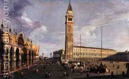 Piazza San Marco, looking South West, c.1734-35 by (Giovanni Antonio Canal) Canaletto - Reproduction Oil Painting