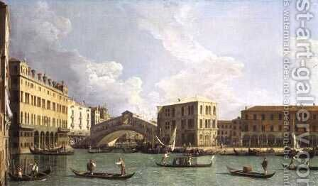 View of the Rialto Bridge, from the North, c.1734-35 by (Giovanni Antonio Canal) Canaletto - Reproduction Oil Painting
