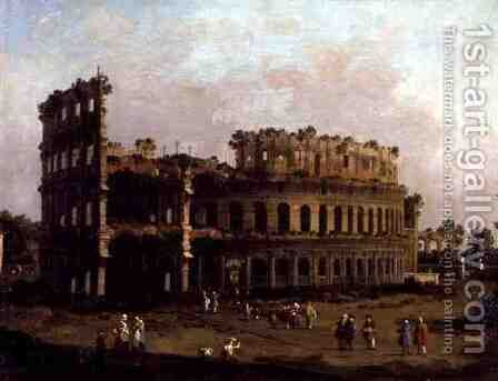 The Colosseum by (Giovanni Antonio Canal) Canaletto - Reproduction Oil Painting