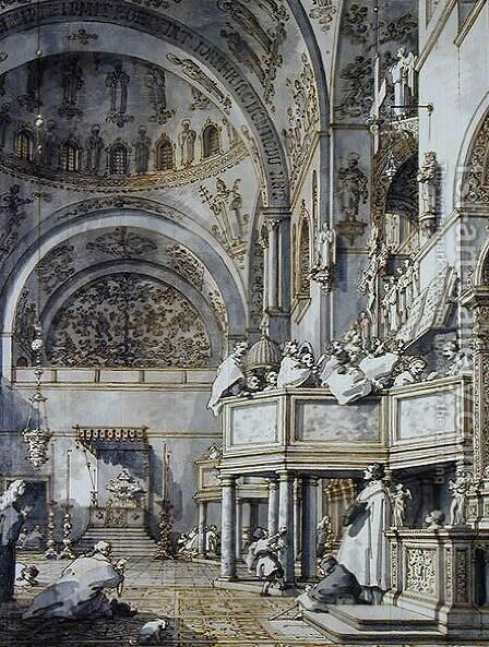 The Choir Singing in St. Mark's Basilica, Venice, 1766 by (Giovanni Antonio Canal) Canaletto - Reproduction Oil Painting
