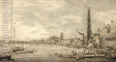 The Thames Looking towards Westminster from near York Water Gate by (Giovanni Antonio Canal) Canaletto - Reproduction Oil Painting