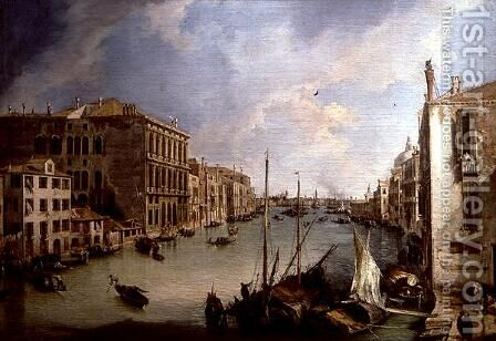 The Grand Canal from the Campo San Vio, Venice by (Giovanni Antonio Canal) Canaletto - Reproduction Oil Painting
