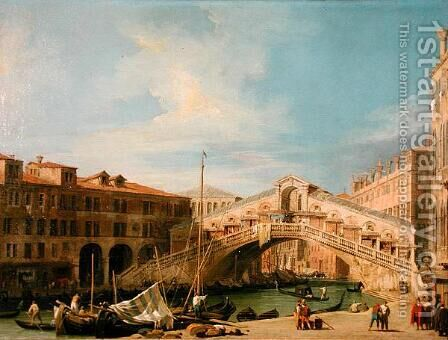 View of the Rialto at Venice by (Giovanni Antonio Canal) Canaletto - Reproduction Oil Painting