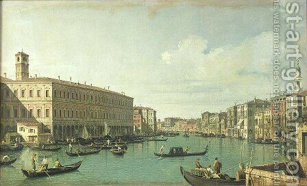 The Grand Canal from the Rialto Bridge by (Giovanni Antonio Canal) Canaletto - Reproduction Oil Painting