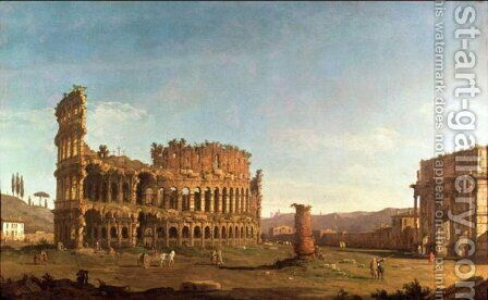 Colosseum and Arch of Constantine, Rome by (Giovanni Antonio Canal) Canaletto - Reproduction Oil Painting
