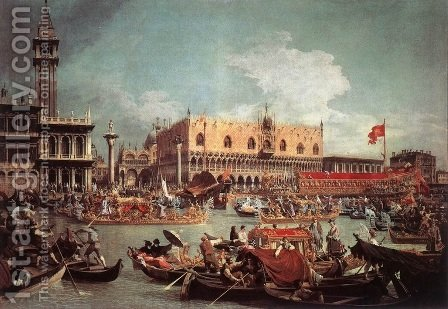 Return of the Bucintoro on Ascension Day by (Giovanni Antonio Canal) Canaletto - Reproduction Oil Painting