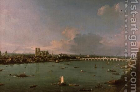View of the Thames from South of the River by (Giovanni Antonio Canal) Canaletto - Reproduction Oil Painting
