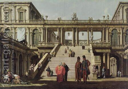 Castle Courtyard, 1762 by Bernardo Bellotto (Canaletto) - Reproduction Oil Painting