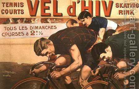 Races every Sunday, poster advertising the 'Vel d'Hiv' (velodrome d'hiver), 1910 by Jacques Cancaret - Reproduction Oil Painting