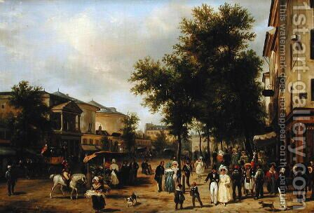 View of Boulevard Montmartre, Paris, 1830 by Guiseppe Canella - Reproduction Oil Painting
