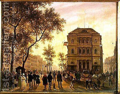 Boulevard Saint-Martin and the Theatre de l'Ambigu, 1830 by Guiseppe Canella - Reproduction Oil Painting