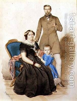 Family Portrait, 1856 by August (Agost Elek) Canzi - Reproduction Oil Painting