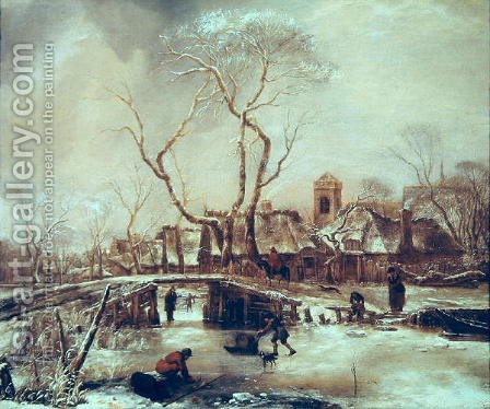 Winter Scene by Jan Van De Capelle - Reproduction Oil Painting