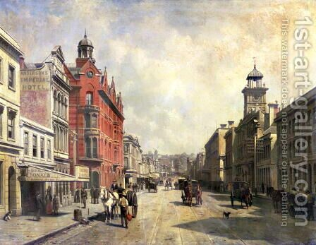 View of Queen Street, Auckland by Jacques Carabain - Reproduction Oil Painting