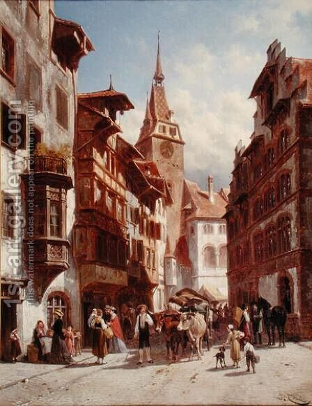 Figures on the Street in Zug, Switzerland, 1880 by Jacques Carabain - Reproduction Oil Painting