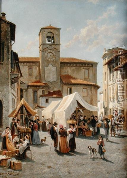Marketday in Desanzano by Jacques Carabain - Reproduction Oil Painting