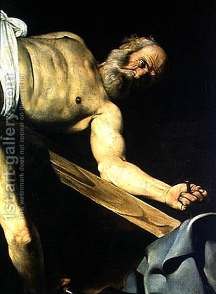 The Crucifixion of St. Peter, detail of St. Peter, 1600-01 by Caravaggio - Reproduction Oil Painting