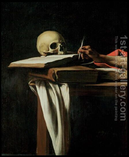 St. Jerome Writing, c.1604 (detail) by Caravaggio - Reproduction Oil Painting