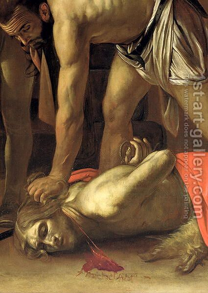 The Decapitation of St. John the Baptist, 1608 (detail-3) by Caravaggio - Reproduction Oil Painting