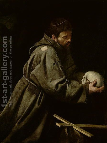 Saint Francis in Meditation by Caravaggio - Reproduction Oil Painting