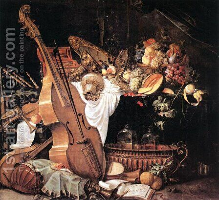 Vanitas Still-Life with Musical Instruments by Cornelis De Heem - Reproduction Oil Painting