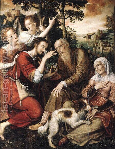 The Healing of Tobit by Jan Massys - Reproduction Oil Painting