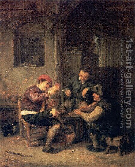 Three Peasants at an Inn by Adriaen Jansz. Van Ostade - Reproduction Oil Painting