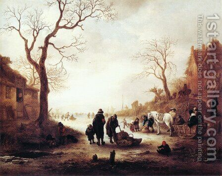 A Canal in Winter by Isaack Jansz. van Ostade - Reproduction Oil Painting