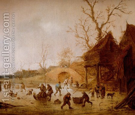 A Winter Landscape With Skaters, Children Playing Kolf And Figures With Sledges On The Ice Near A Bridge by Isaack Jansz. van Ostade - Reproduction Oil Painting