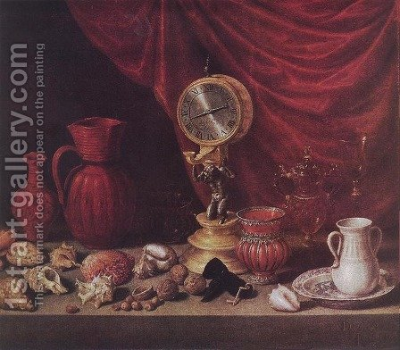 Still-life with a Pendulum by Antonio de Pereda - Reproduction Oil Painting