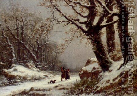 Travellers In Winter Woodland by Charles Joseph Lecointe - Reproduction Oil Painting