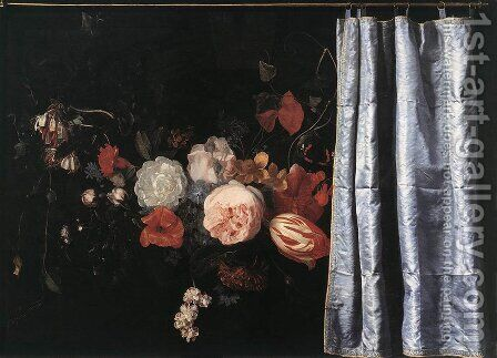 Flower Still-Life with Curtain by Adrian Van Der Spelt - Reproduction Oil Painting