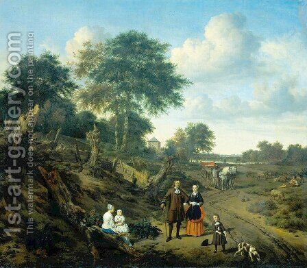 Family Portrait in a Landscape by Adriaen Van De Velde - Reproduction Oil Painting