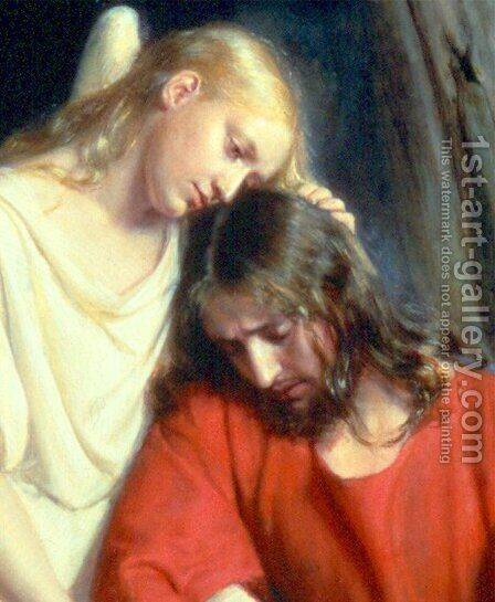 Christ at Gethsemane [detail #1] by Carl Heinrich Bloch - Reproduction Oil Painting