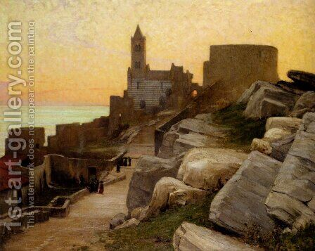 Mediterranean Village At Sunset by Alexander Mann - Reproduction Oil Painting