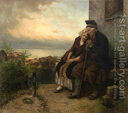 Mourning Their Loss by Carl Wilhelm Hübner - Reproduction Oil Painting