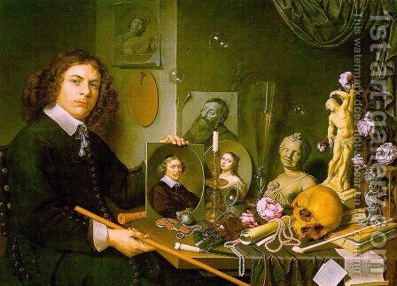 Self-Portrait with Vanitas Symbols by David Bailly - Reproduction Oil Painting
