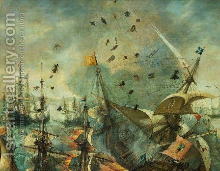 Explosion of the Spanish Flagship in the Battle of Gibraltar, 1607 [detail #1] by Cornelis Claesz van Wieringen - Reproduction Oil Painting