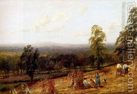 Harvestime, Ashborne, Warwickshire by Hendrikus van den Sande Bakhuyzen - Reproduction Oil Painting