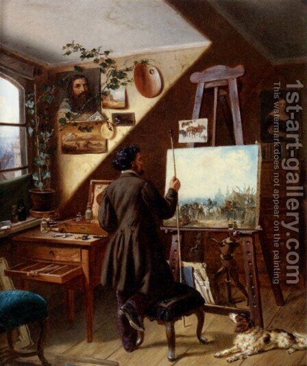 Painting Horses In The Studio, A Self Portrait by Gustav Adolf Friedrich - Reproduction Oil Painting