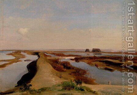 The Salt Marshes, Ostia by Jean-Baptiste-Adolphe Gibert - Reproduction Oil Painting