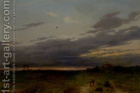 Sunset Landscape With Two Figures On A Track by Carlo Piacenza - Reproduction Oil Painting